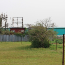 The (now demolished) protestors' hut