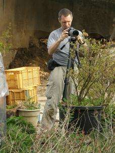 Rupert filming in the farm yard